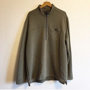 Eddie Bauer Tall Quilted Olive Green Zip Pullover
